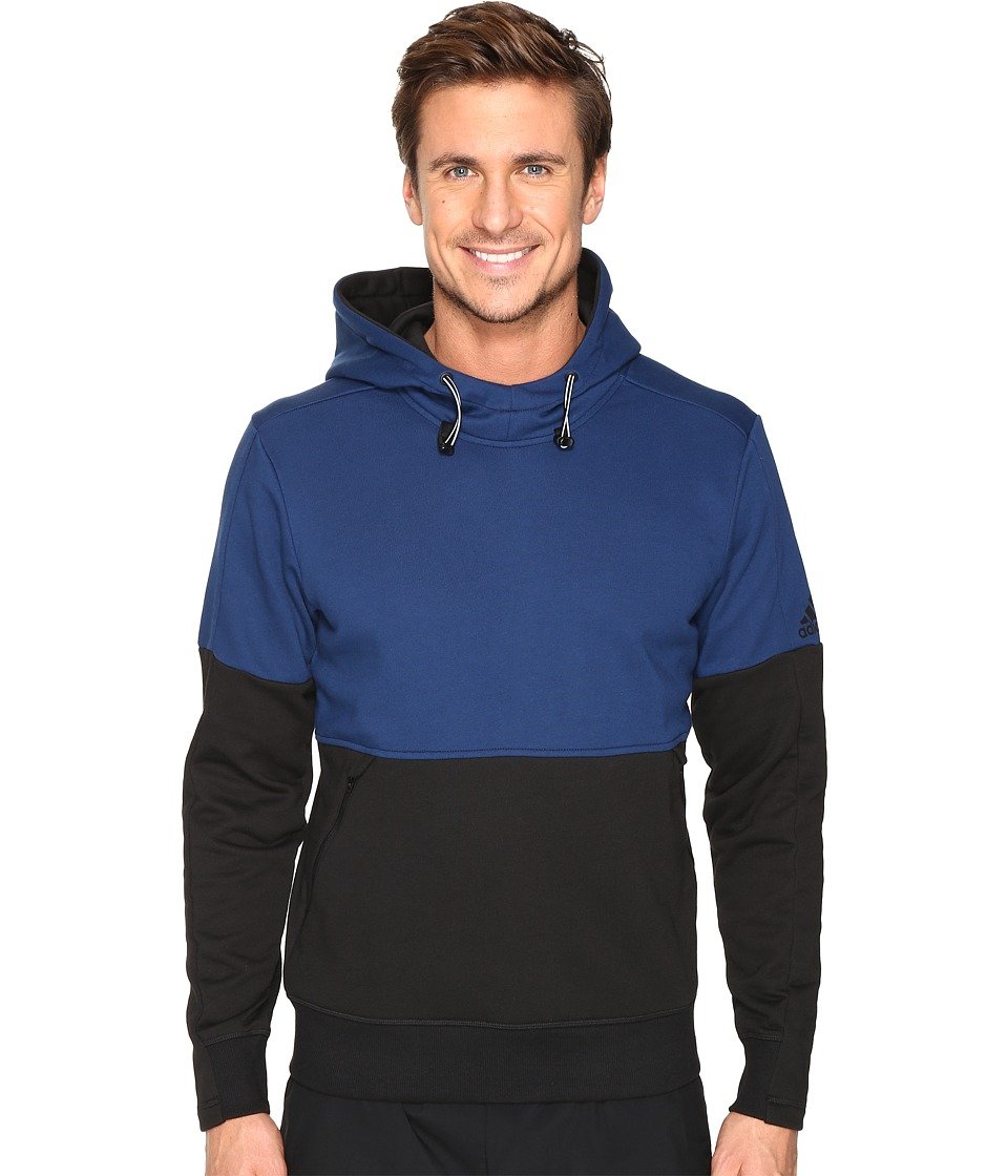 adidas - Sport ID French Terry Pullover Hoodie (Mystery Blue S17/Black) Men's Long Sleeve Pullover