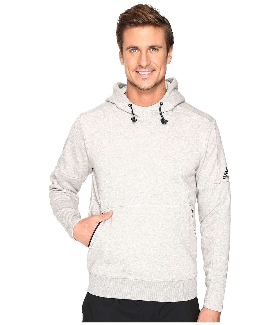 adidas - Sport ID French Terry Pullover Hoodie (Medium Grey Heather) Men's Long Sleeve Pullover