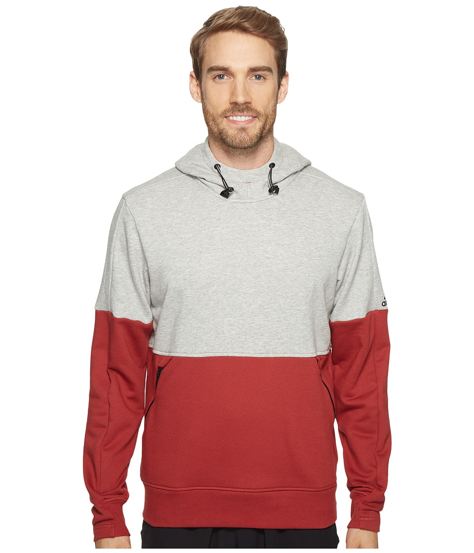 adidas - Sport ID French Terry Pullover Hoodie (Medium Grey Heather/Mystery Red S17) Men's Long Sleeve Pullover