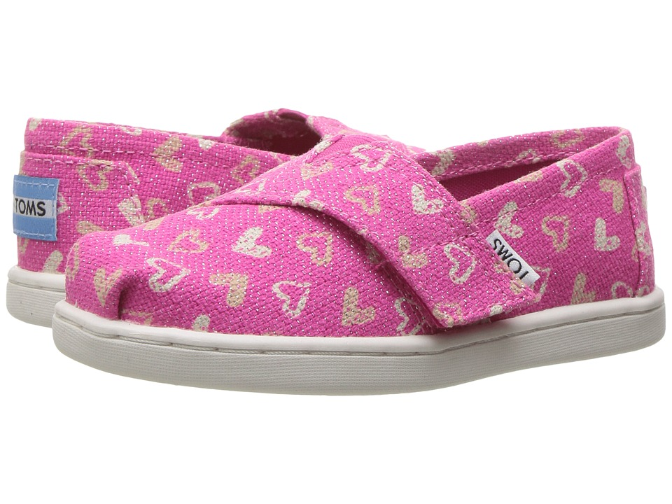 TOMS Kids - Seasonal Classics (Infant/Toddler/Little Kid) (Fuchsia Glitter Hearts) Girls Shoes