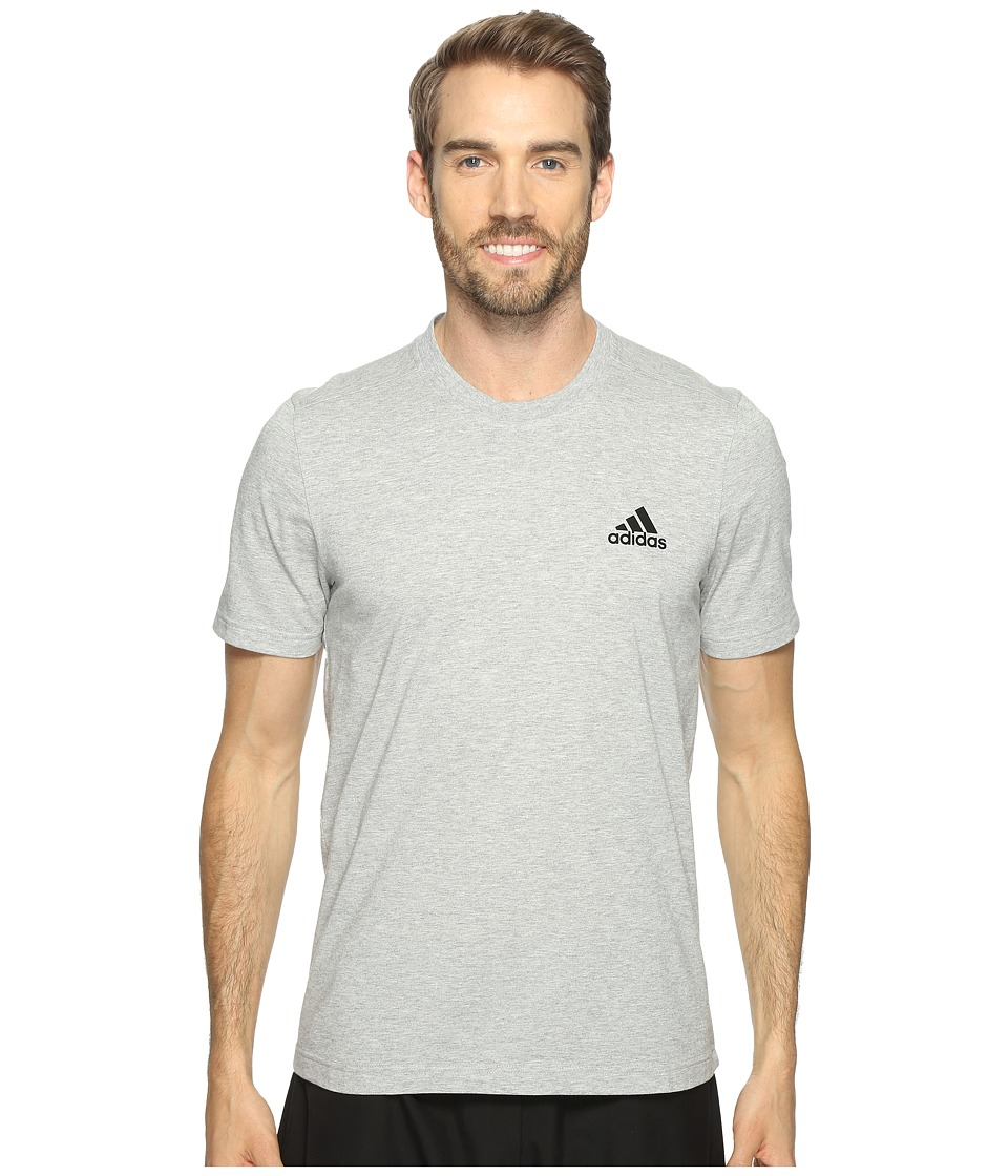 adidas Essentials Droptail 3-Stripes Tee (Medium Grey Heather/Black) Men