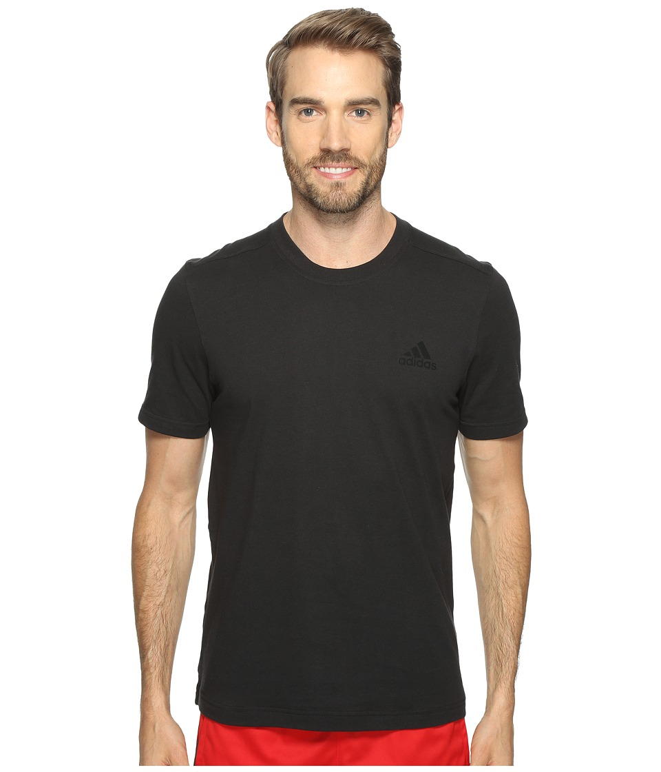adidas - Essentials Droptail 3-Stripes Tee (Black/Black) Men's Short Sleeve Pullover