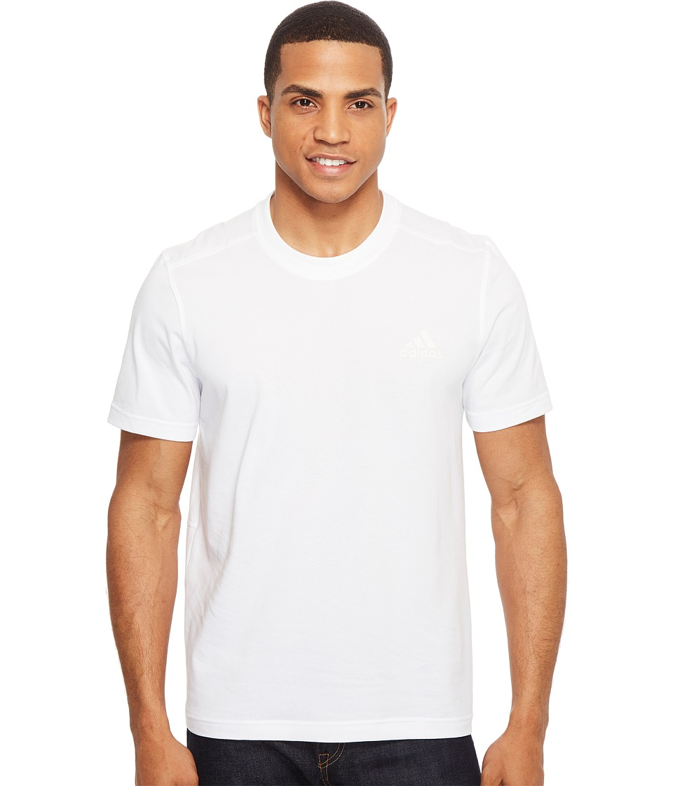 adidas Essentials Droptail 3-Stripes Tee (White/Black) Men