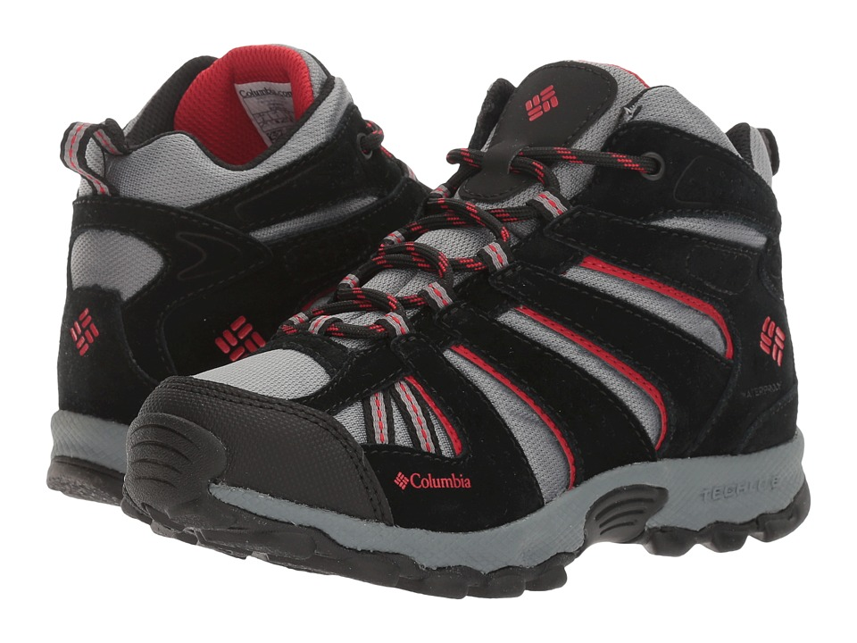 Columbia Kids - North Plains Mid Waterproof (Little Kid/Big Kid) (Grey Ash/Mountain Red) Boys Shoes
