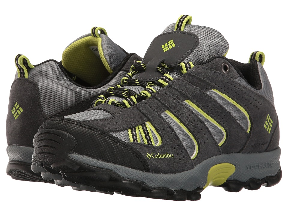 Columbia Kids - North Plains Waterproof (Little Kid/Big Kid) (Grey Ash/Voltage) Boys Shoes