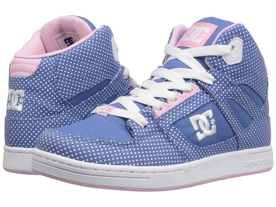 DC Kids Rebound TX SE (Little Kid/Big Kid) (Blue/White Print) Girls Shoes