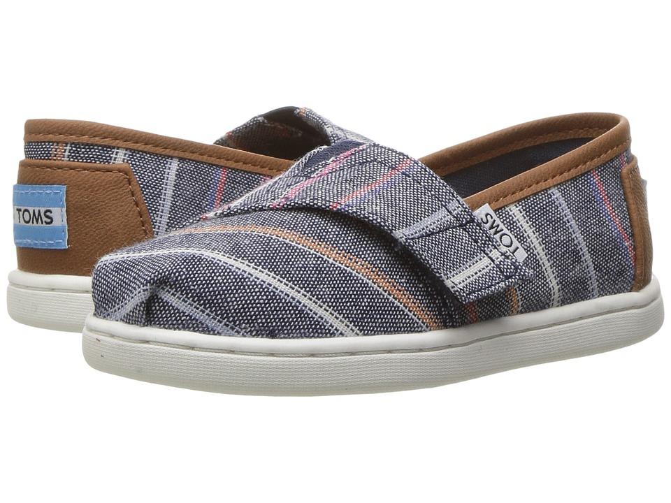 TOMS Kids - Seasonal Classics (Infant/Toddler/Little Kid) (Navy Multi Stripe/PU) Kids Shoes