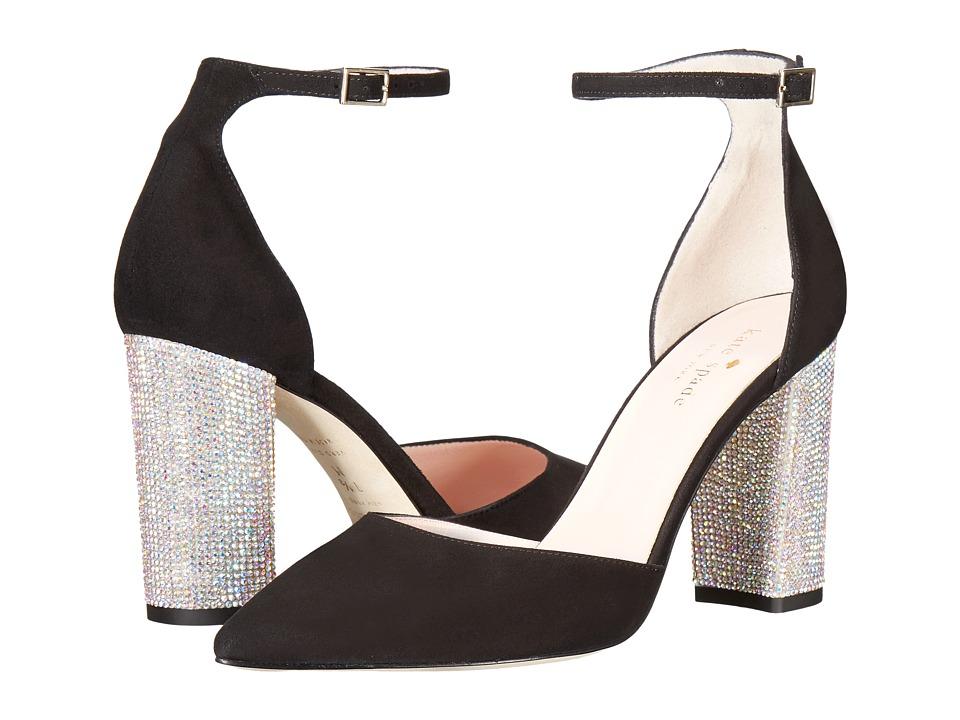 Kate Spade New York - Pax (Black Kid Suede/AB Stone Heel) Women's Slip-on Dress Shoes