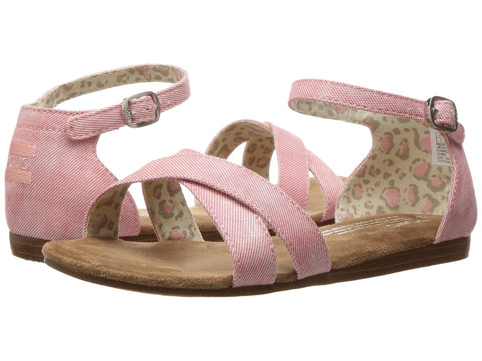 TOMS Kids - Correa Sandal (Little Kid/Big Kid) (Coral Washed Twill) Girls Shoes