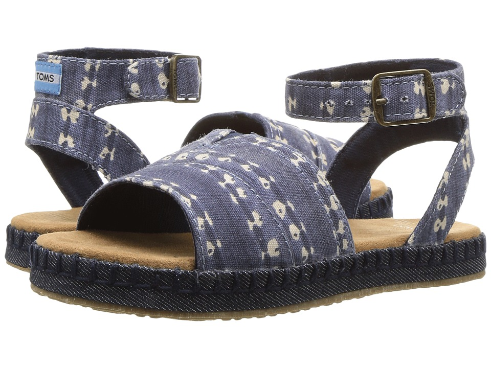 TOMS Kids - Malea Sandals (Little Kid/Big Kid) (Navy Batik Stripe) Girls Shoes