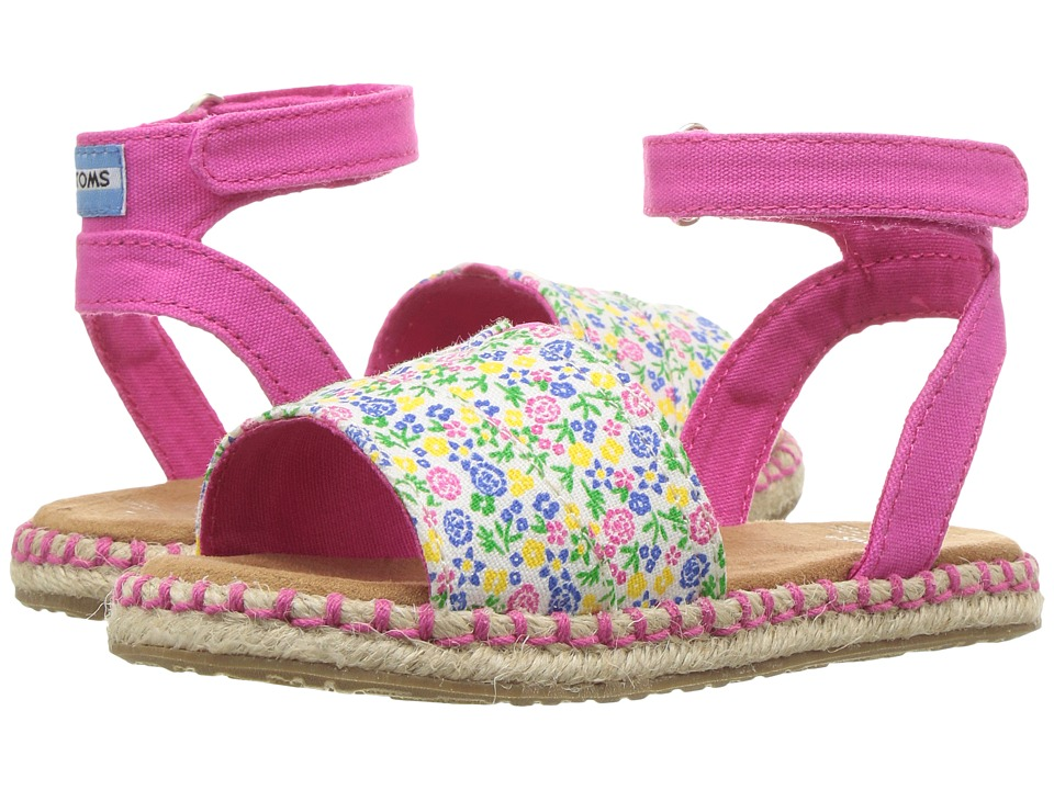 TOMS Kids - Malea Sandals (Toddler/Little Kid) (Fuchsia Multi Floral) Girls Shoes