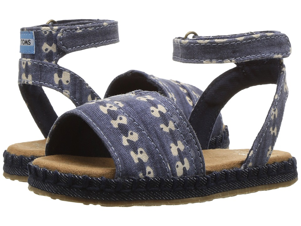TOMS Kids - Malea Sandals (Toddler/Little Kid) (Navy Batik Stripe) Girls Shoes