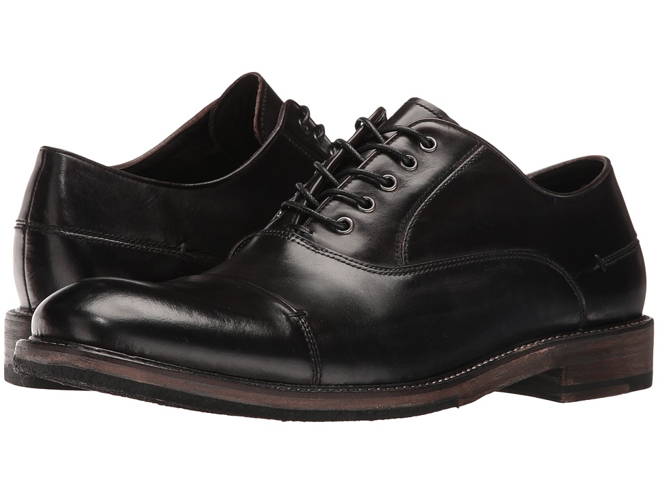 John Varvatos - Sid Crepe Oxford (Mineral Black) Men's Plain Toe Shoes