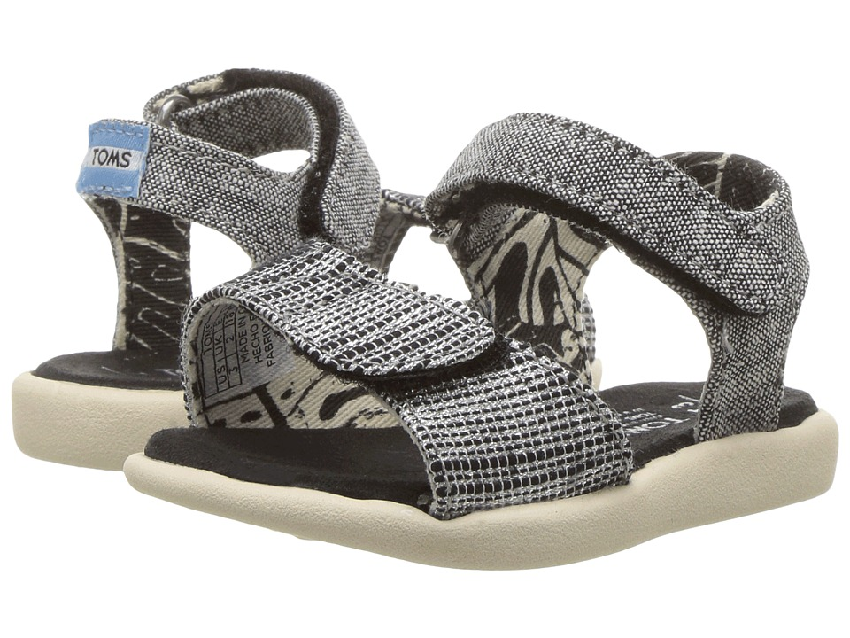 TOMS Kids - Strappy Sandals (Toddler/Little Kid/Big Kids) (Black Slubby Metallic) Girls Shoes