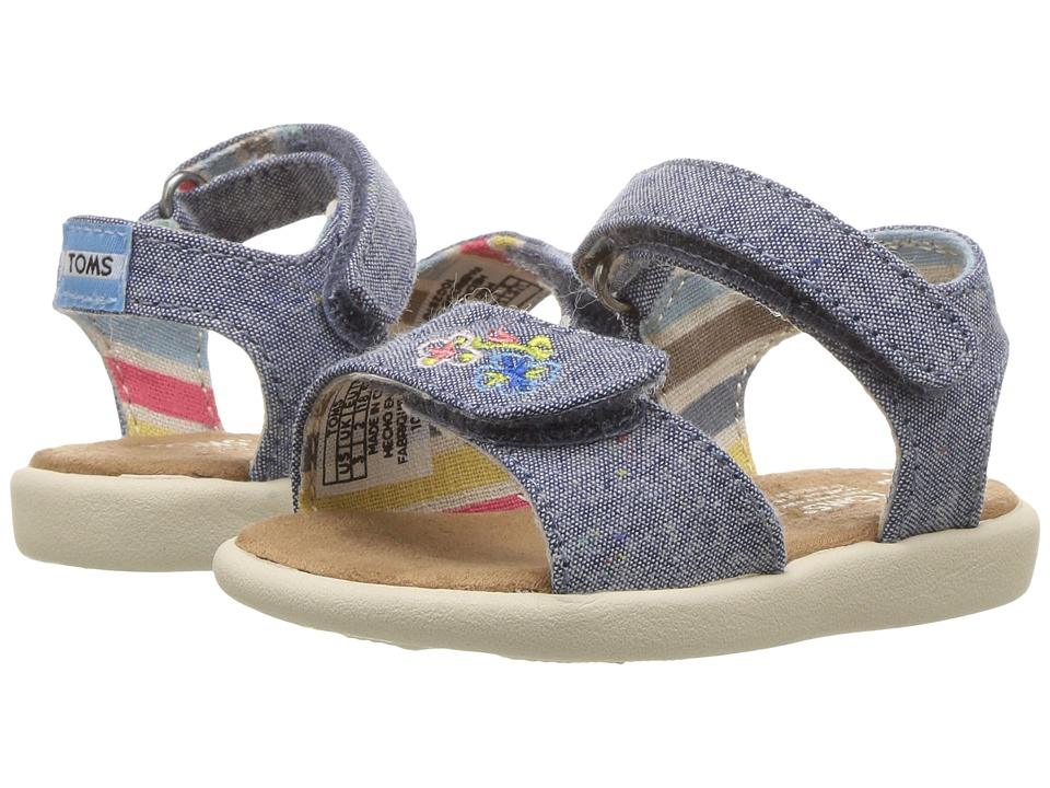 TOMS Kids Strappy Sandals (Toddler/Little Kid/Big Kids) (Blue Multi Chambray/Embroidery) Girls Shoes