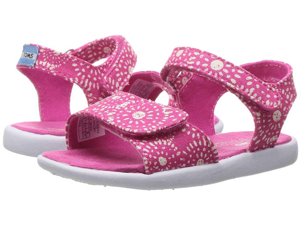 TOMS Kids - Strappy Sandals (Toddler/Little Kid/Big Kids) (Fuchsia Shibori Dots) Girls Shoes