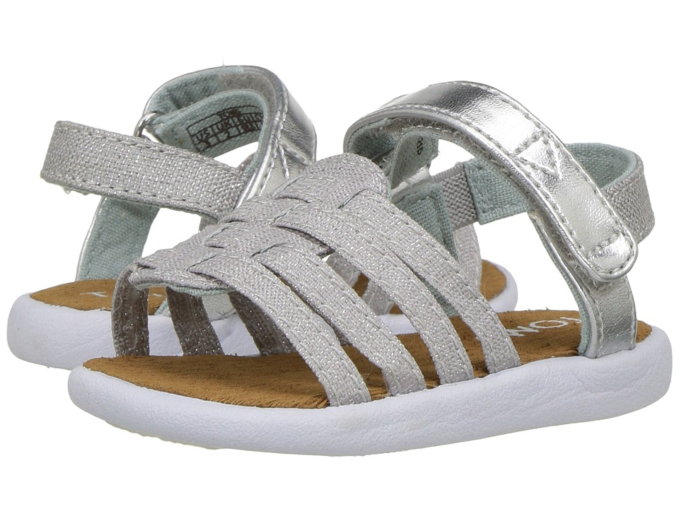 TOMS Kids - Huarache Sandals (Infant/Toddler/Little Kid) (Silver Metallic Linen) Girls Shoes