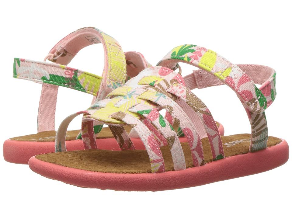TOMS Kids - Huarache Sandals (Infant/Toddler/Little Kid) (Pink Tropical Palms) Girls Shoes