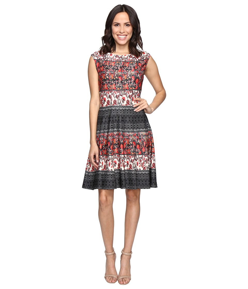 Christin Michaels Adriane Printed Fit and Flare Dress (Black/Red) Women