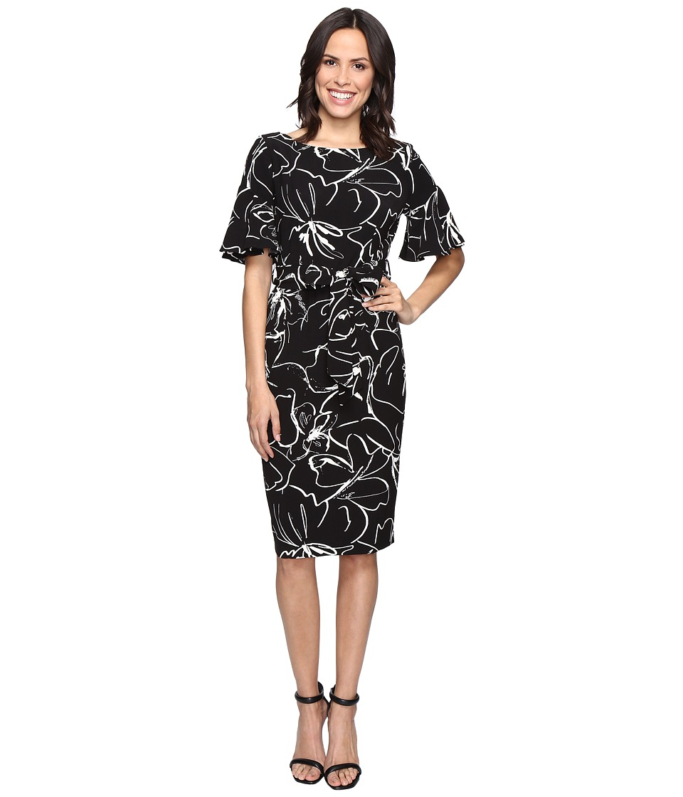 Christin Michaels - Adoria Bell Sleeve Printed Crepe Midi Dress (Black/Ivory) Women's Dress