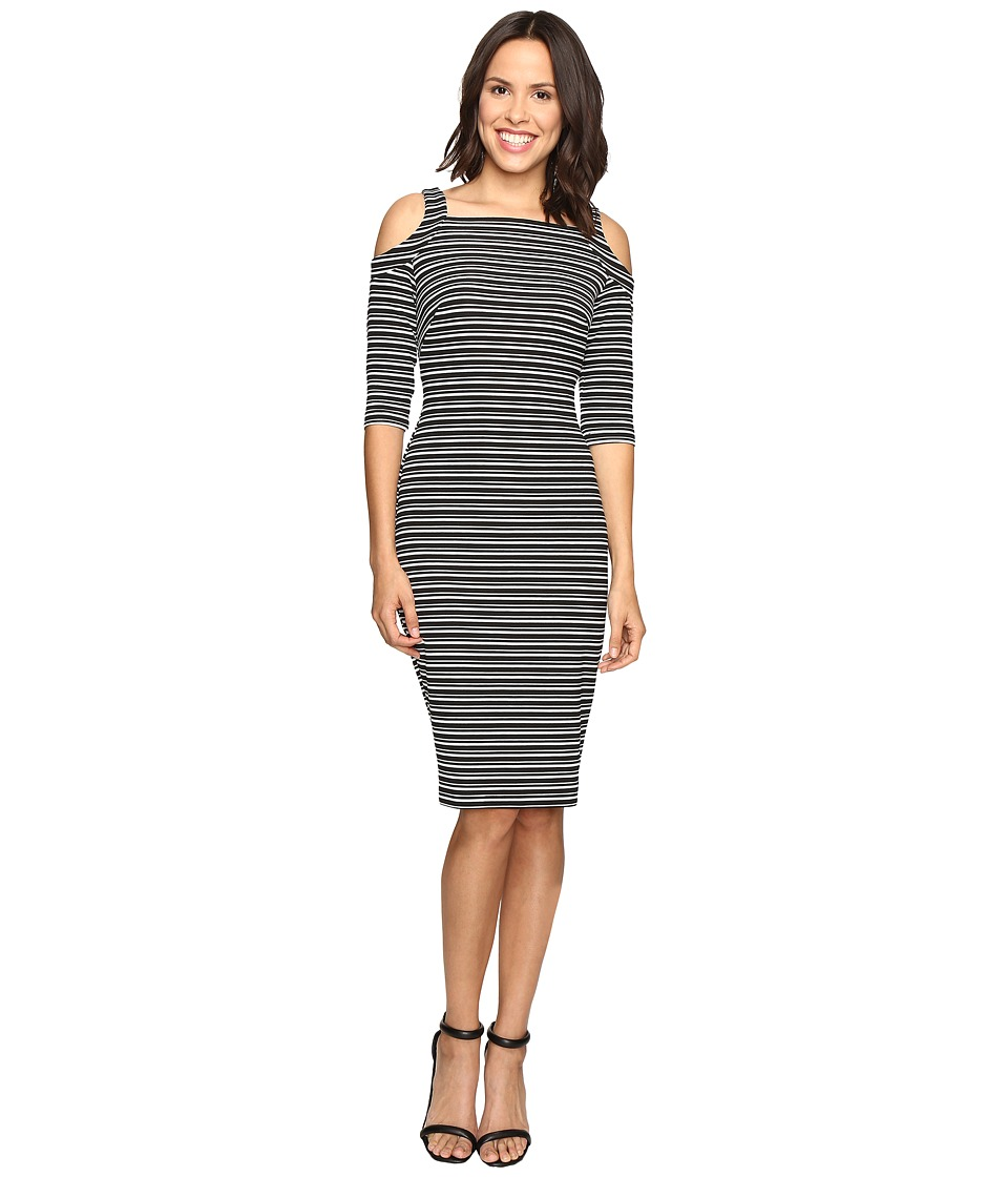 Christin Michaels - Lana Cold Shoulder Striped Midi Dress (Black/Ivory) Women's Dress
