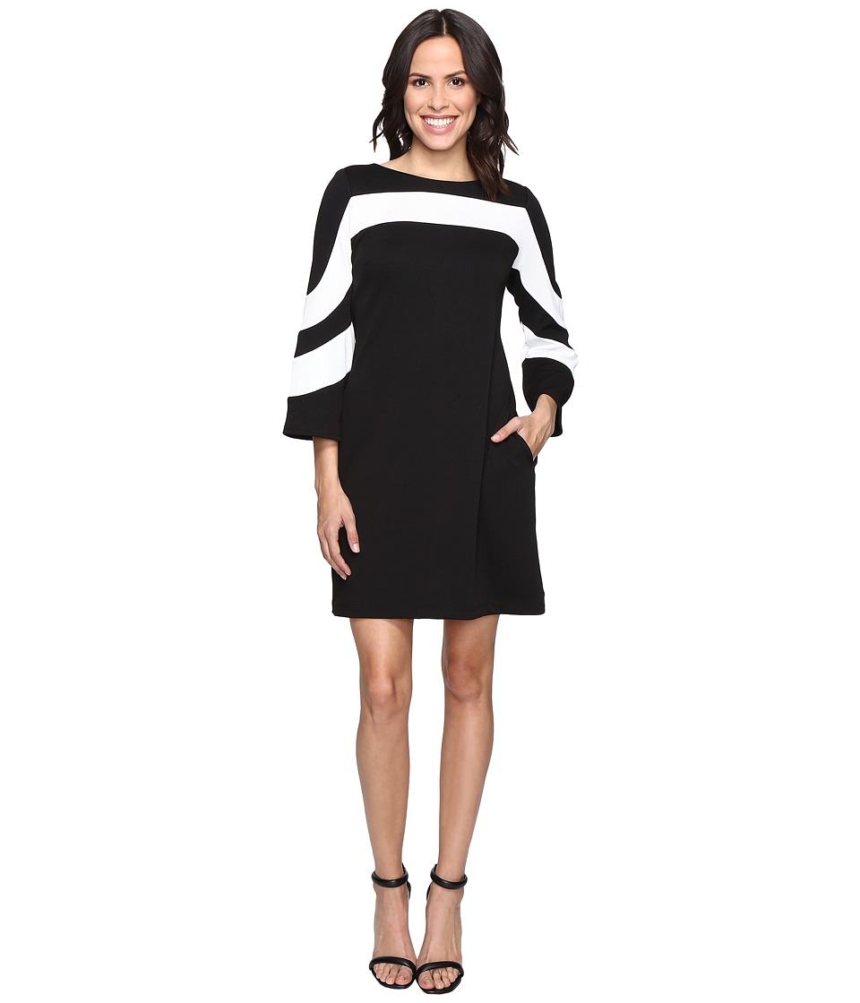 Christin Michaels - Erin Bell Sleeve A-Line Crepe Dress (Black/Ivory) Women's Dress