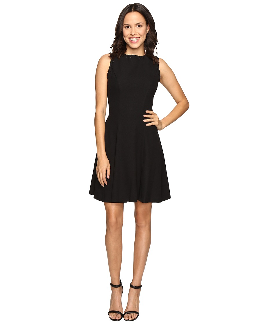 Christin Michaels Keira Fit and Flare Dress with Whipstitch Detail (Black) Women