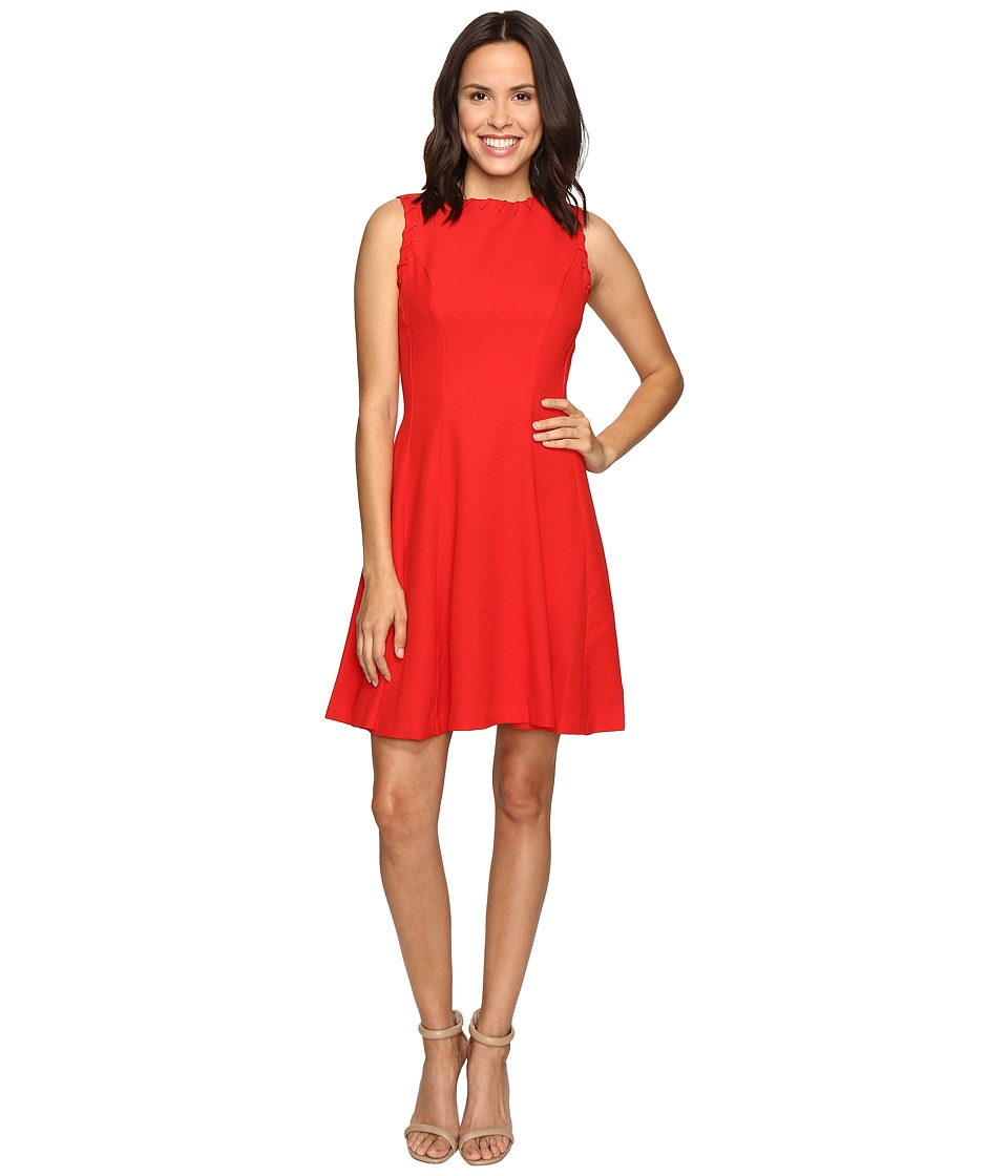 Christin Michaels - Keira Fit and Flare Dress with Whipstitch Detail (Red) Women's Dress