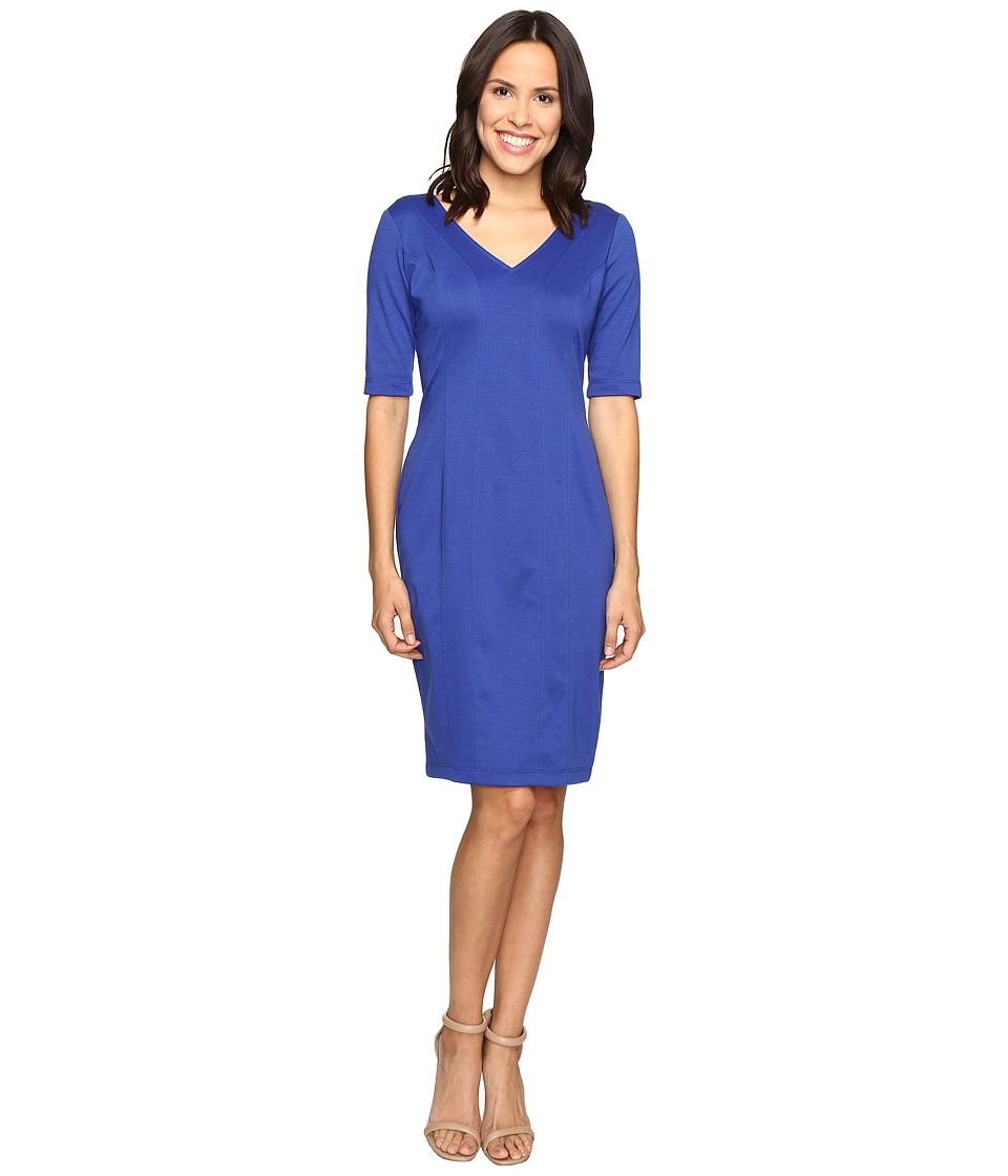 Christin Michaels - Karmen Bodycon Ponte Midi Dress (Cobalt) Women's Dress