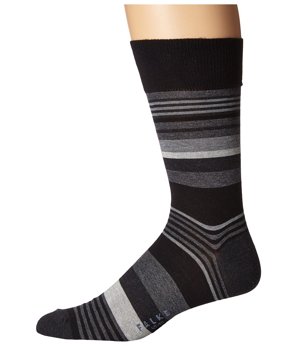Falke - Multi Stripe Sock (Black) Men's Crew Cut Socks Shoes