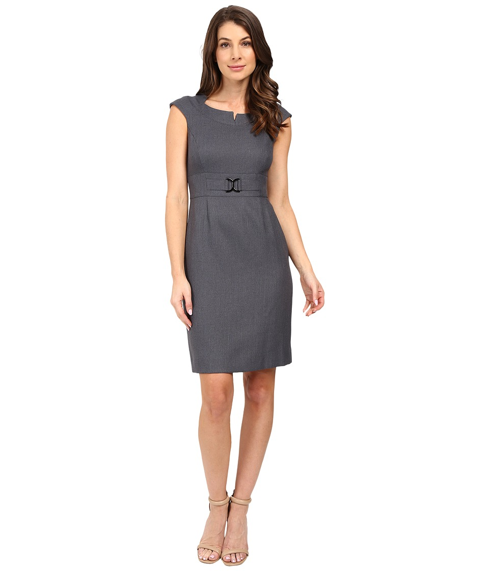 Tahari by ASL - Notched Collar Sheath with Hardware (Charcoal Grey) Women's Dress