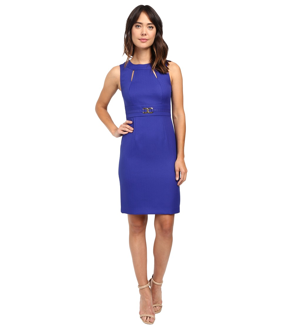Tahari by ASL - Sheath with Cut Outs and Gold Hardware (Cobalt) Women's Dress