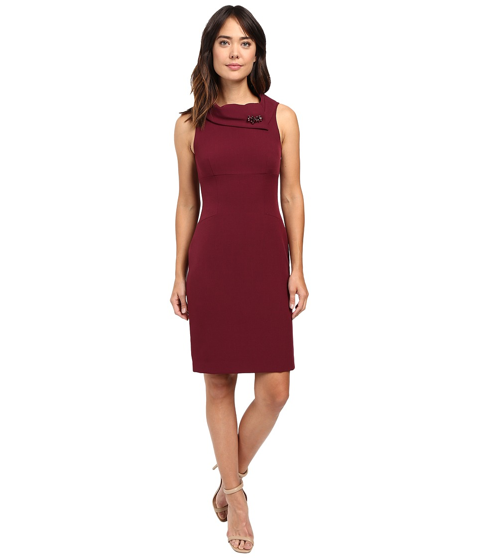 Tahari by ASL - Statement Collar Sheath (Wine) Women's Dress