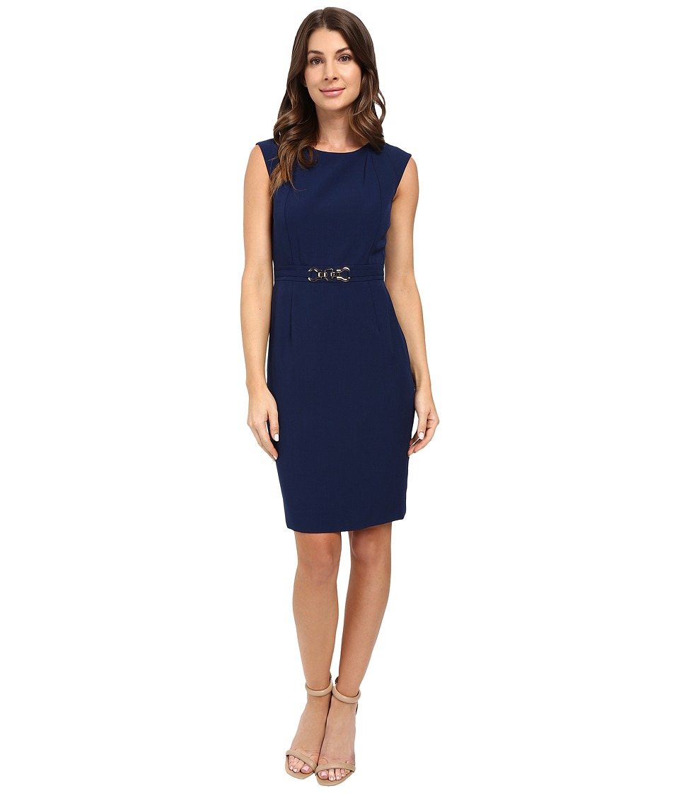 Tahari by ASL - Crepe Sheath with Seamed Bodice and Hardware (Indigo) Women's Dress