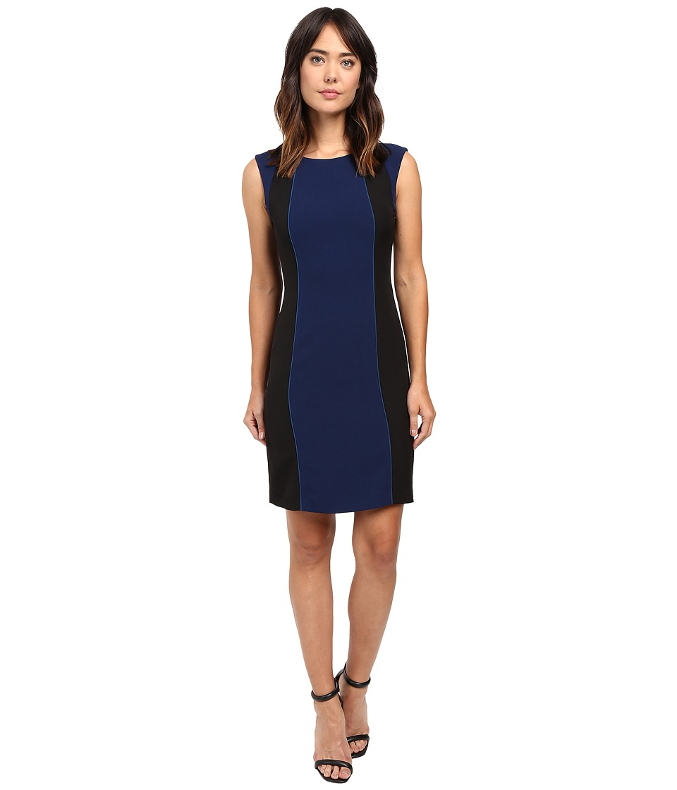 Tahari by ASL Color Block Sheath with Accent Piping (Indigo/Teal/Black) Women