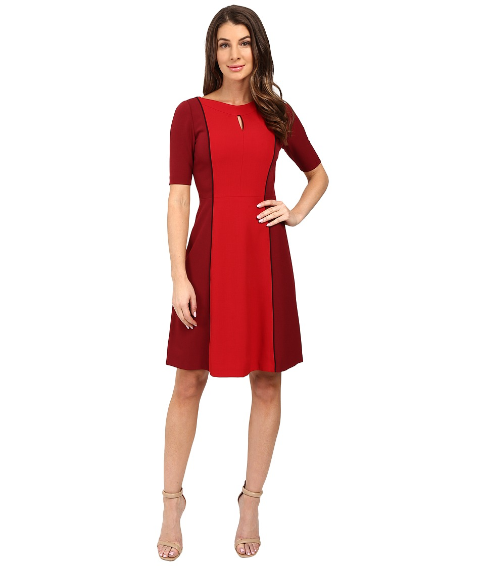 Tahari by ASL - Tonal Color Block Short Sleeve A-Line (Lipstick Red/Black) Women's Dress
