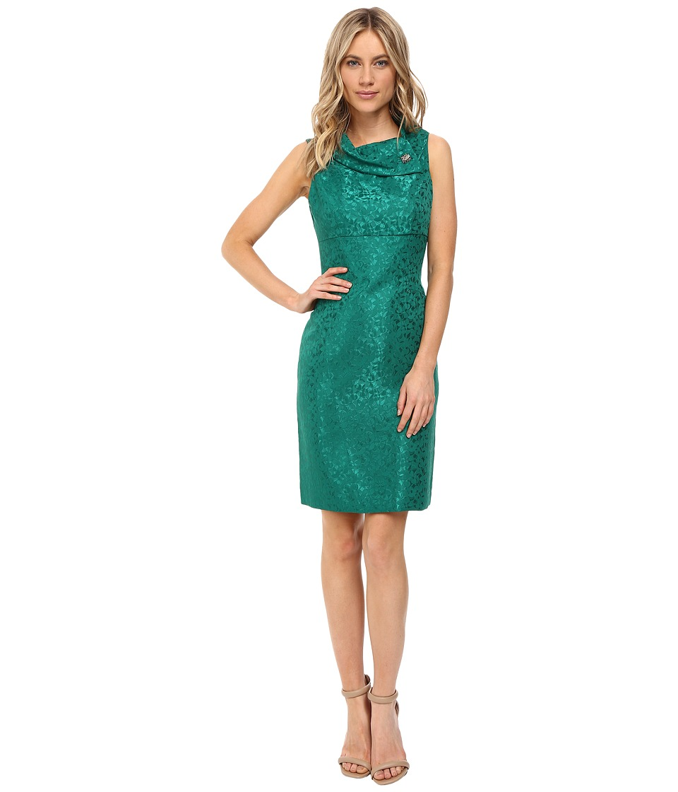 Tahari by ASL - Jacquard Sheath with Envelope Neck and Brooch (Emerald Green) Women's Dress