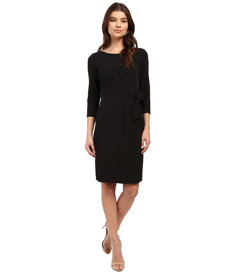 Tahari by ASL - Crepe Side-Tie 3/4 Sleeve Sheath (Black) Women's Dress