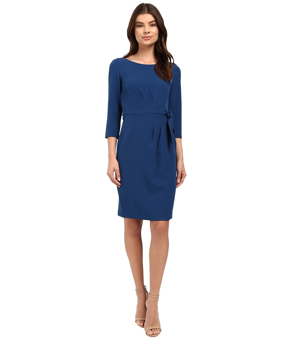 Tahari by ASL - Crepe Side-Tie 3/4 Sleeve Sheath (Teal) Women's Dress