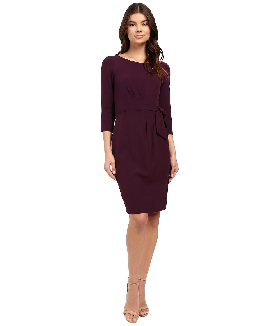 Tahari by ASL - Crepe Side-Tie 3/4 Sleeve Sheath (Plum) Women's Dress