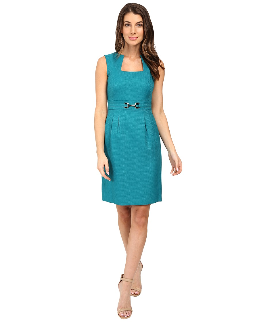Tahari by ASL - Square Neck Fit and Flare with Hardware (Peacock) Women's Dress