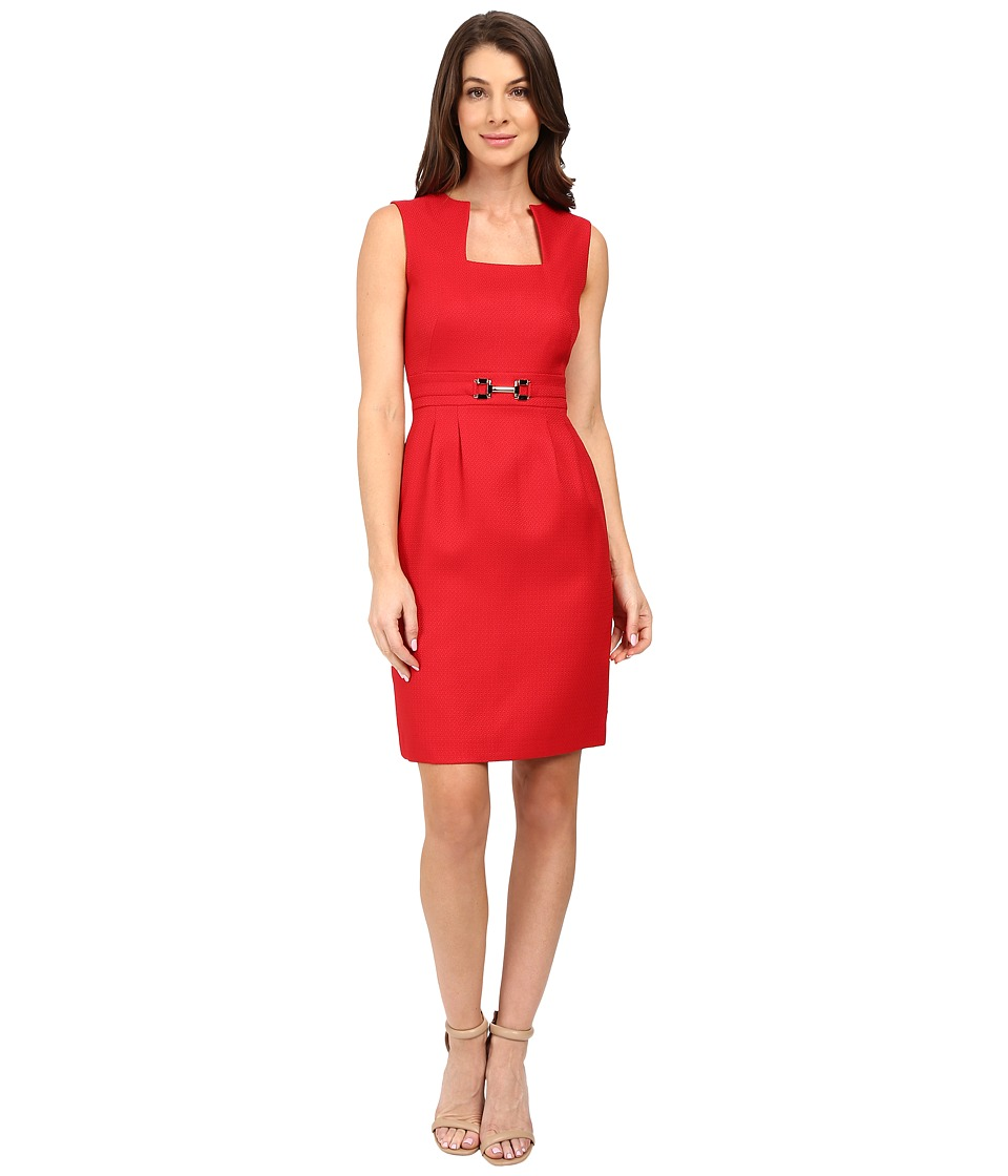 Tahari by ASL - Square Neck Fit and Flare with Hardware (Red) Women's Dress
