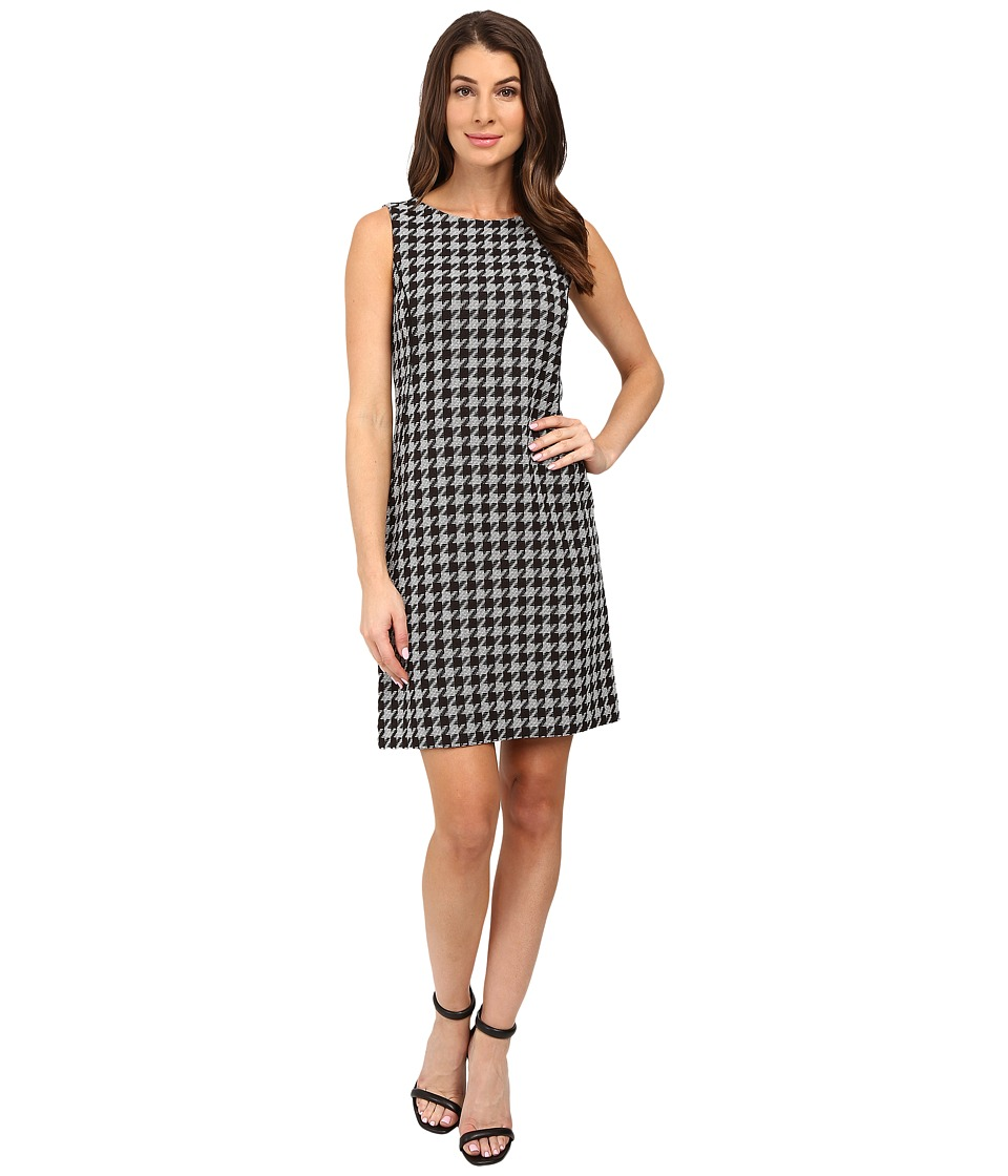 Tahari by ASL - Houndstooth Print Shift with Leather Piping (Black/White) Women's Dress