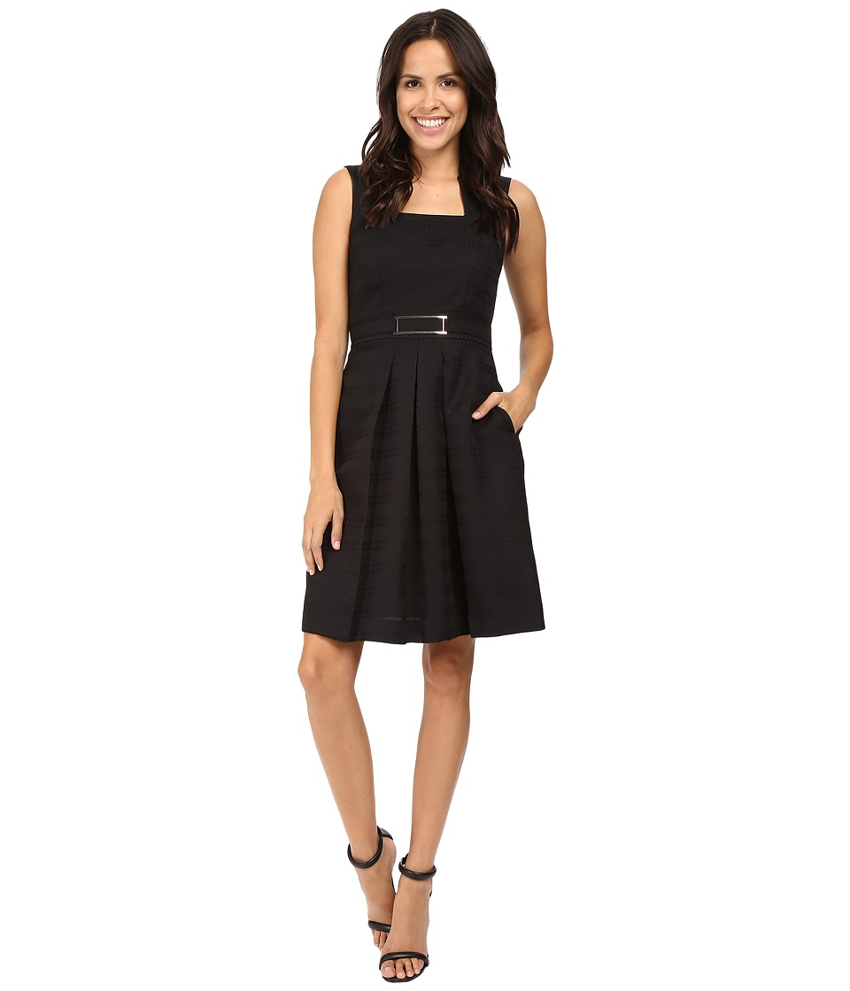 Tahari by ASL - Square Neck Jacquard Fit and Flare with Gold Tone Hardware (Black) Women's Dress