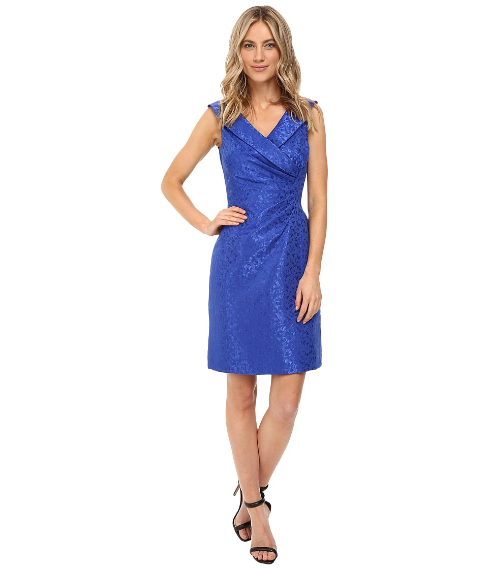 Tahari by ASL - Portrait Collar Jacquard Sheath (Sapphire) Women's Dress