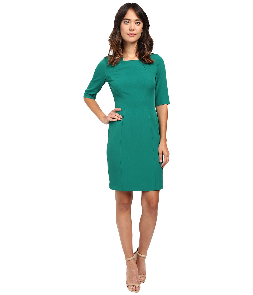 Tahari by ASL - Origami Collar 3/4 Sleeve Sheath (Emerald) Women's Dress