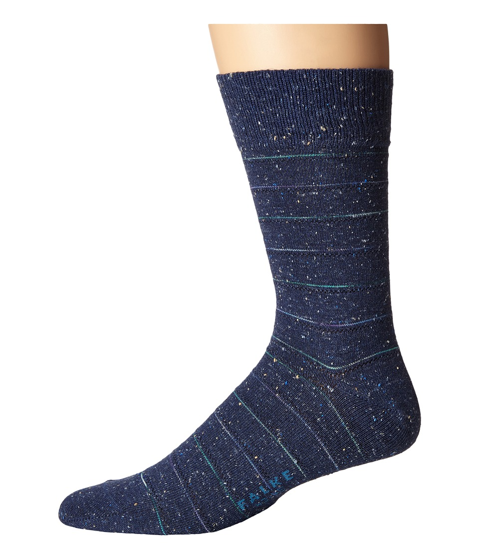 Falke - Tweed Stripe Sock (Dark Blue Melange) Men's Crew Cut Socks Shoes