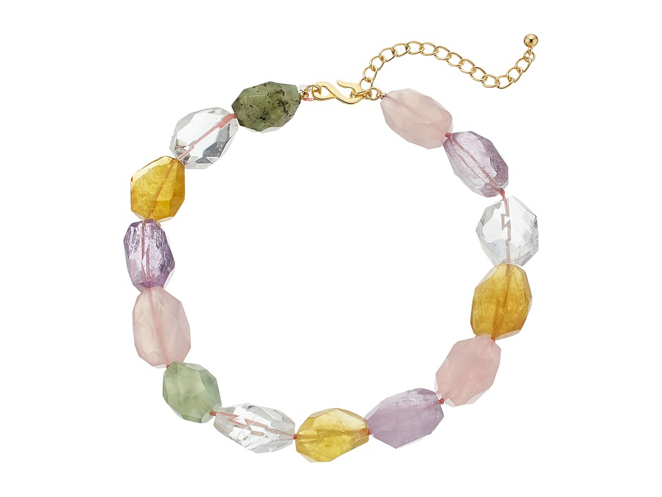 Kenneth Jay Lane - 16 Multi Pastel Faceted Stone Necklace (Multi) Necklace