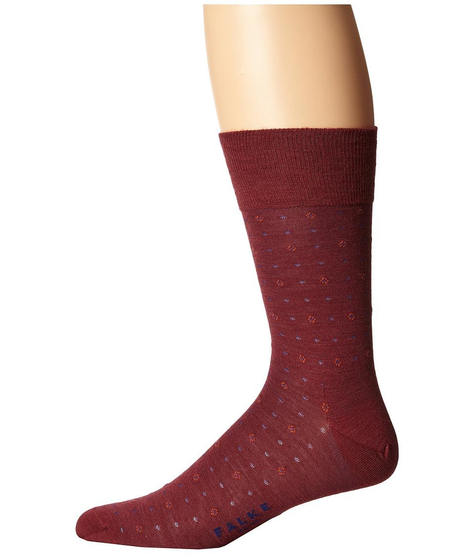 Falke - Minidot Tie Sock (Garnet) Men's Crew Cut Socks Shoes
