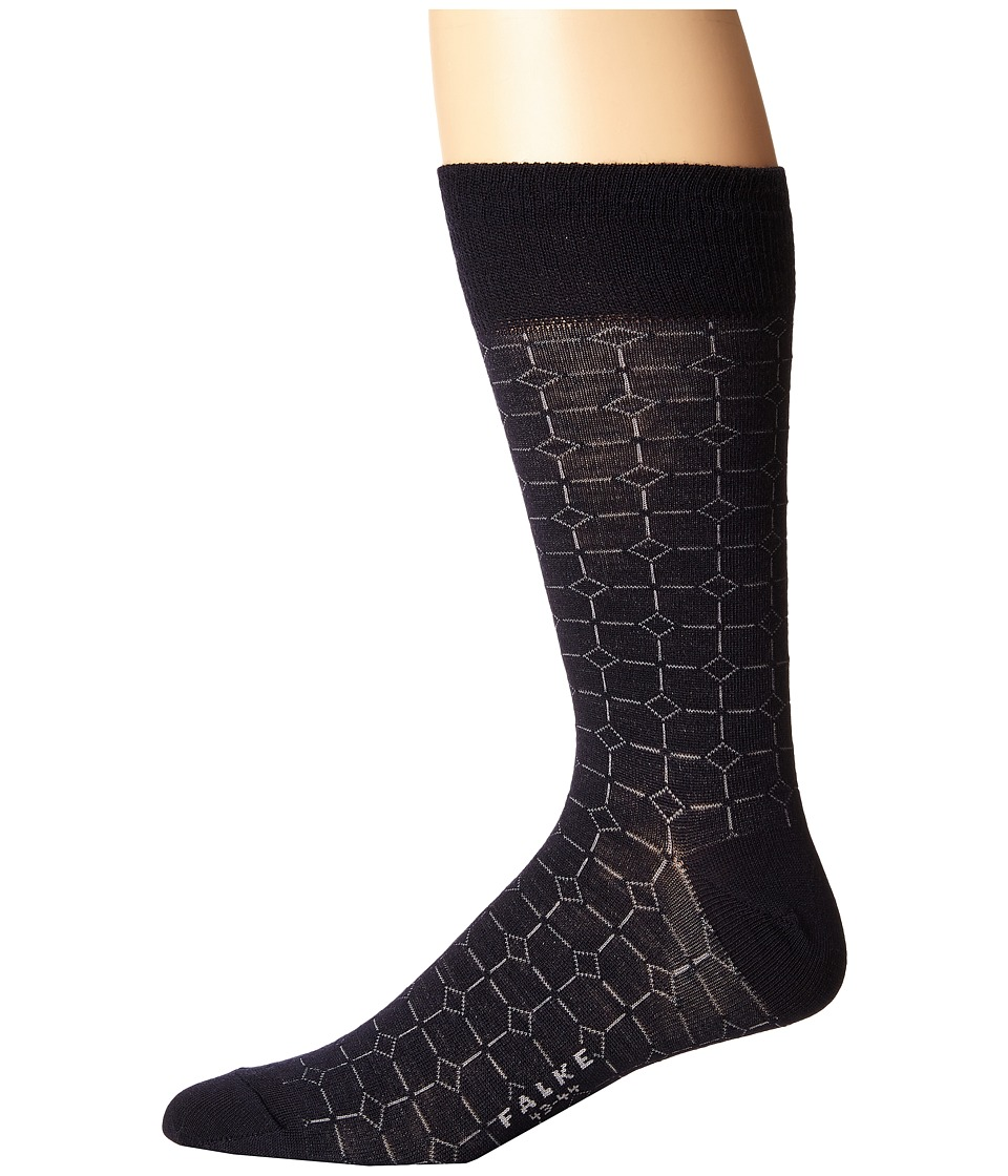 Falke - Gemstone Tie Sock (Dark Navy) Men's Crew Cut Socks Shoes